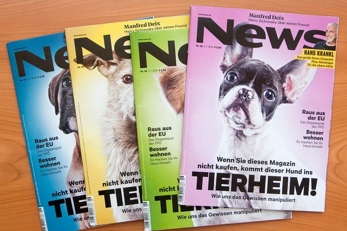 Cover (in four variations) of the first redesigned issue of News.