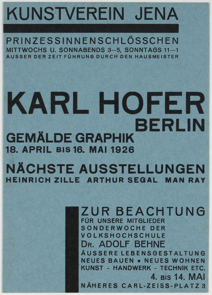 1926: Karl Hofer. Coming up: Heinrich Zille, Arthur Segal, Man Ray