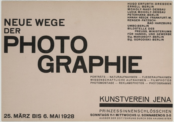 This 1928 photography exhibition featured works by Hugo Erfurth, Lotte (and Richard?) Errell, Lucia Moholy and her husband László Moholy-Nagy, Walter Peterhans, Albert Renger-Patzsch, Umbo (Otto Umbehr) and others. 14.8 ✕ 21 cm.