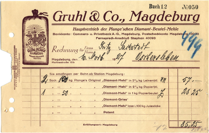 Gruhl, Magdeburg invoices, 1926 and 1927 2
