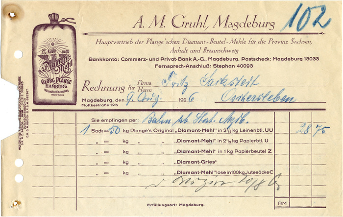 Gruhl, Magdeburg invoices, 1926 and 1927 1