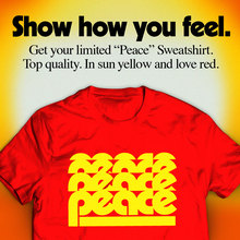 """Peace"" shirt and ad"