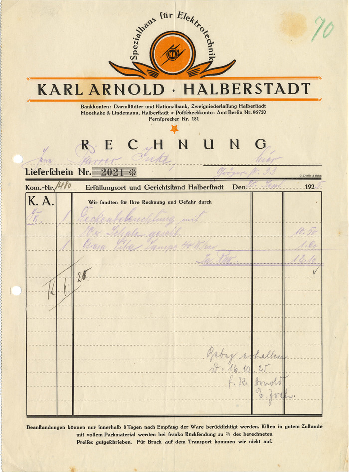 "The first invoice is a feast for fans of Rudolf Koch's work. In addition to the magnificient Deutsche Zierschrift (1921), there is Maximilian (1917), complete with a swash initial (in ""Rechnung"") and the accompanying set of open roman caps also known as Maximilian-Antiqua (for ""Spezialhaus für Elektrotechnik""). The fine print is in Walter Tiemann's Tiemann-Fraktur (1914). The invoice is for equipping the pipe organ at the local St. Katharinen church with bellows powered by an electric motor. (John Cage's organ piece As Slow As Possible is currently being performed in another church in Halberstadt.)"
