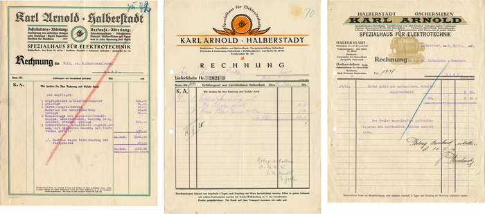 Karl Arnold invoices, 1920s 1