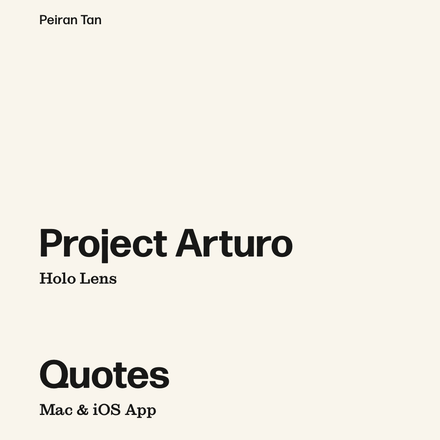 Portfolio website of Peiran Tan, 2017