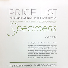 Price List, Stevens-Nelson Paper Corporation
