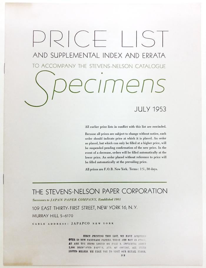 Price List, Stevens-Nelson Paper Corporation