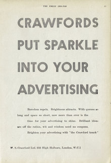 """Crawfords put sparkle into your advertising"" ad"