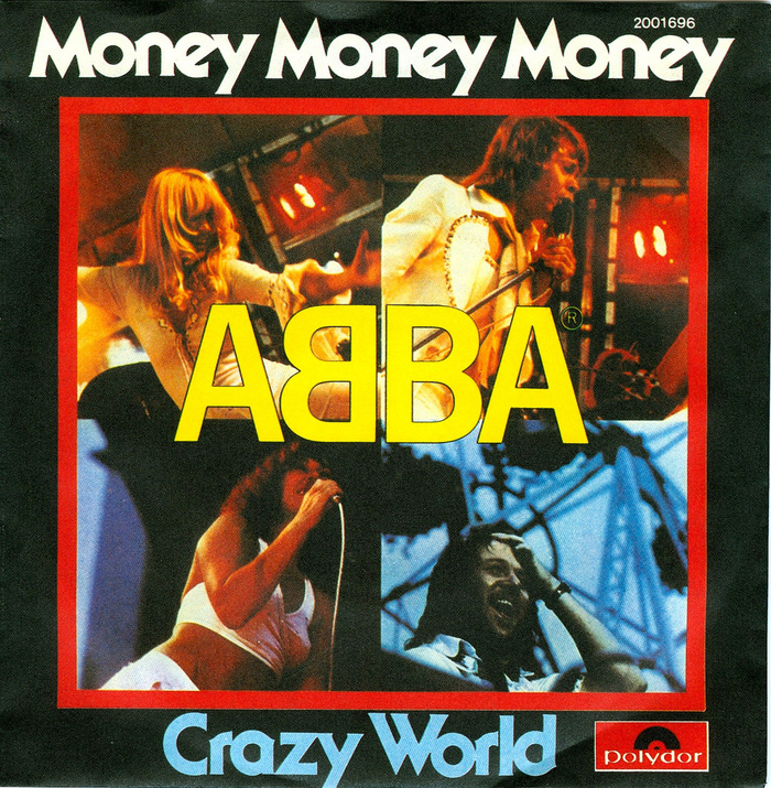 German version of Money Money Money / Crazy World (Polydor, 1976), featuring ITC Serif Gothic.