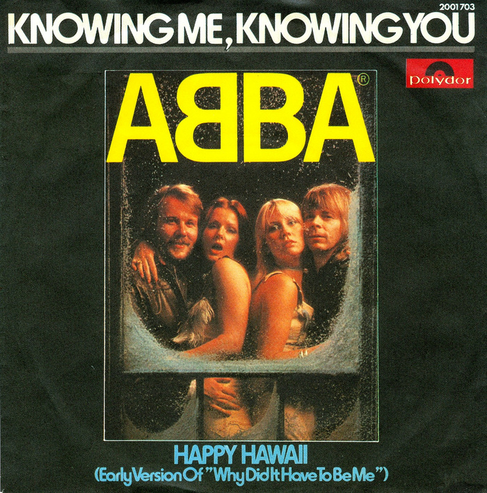 German version of Knowing Me Knowing You (Polydor, 1976). The typeface used for the titles is Horatio.