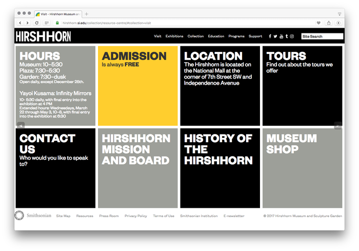 Hirshhorn Museum and Sculpture Garden website 2