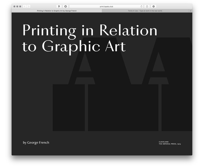 Printing in Relation to Graphic Art by George French, Pavel Kedich web edition 1