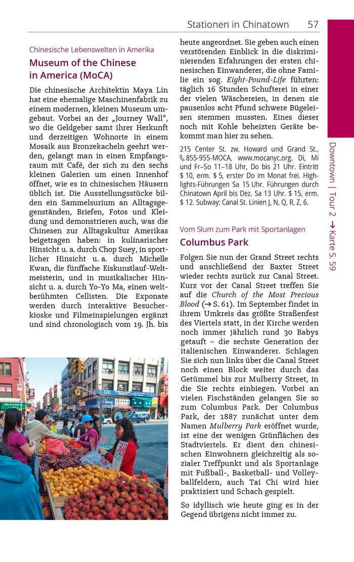 Sample page from an excerpt of the New York City guide. Vela is paired with Open Sans for headlines.