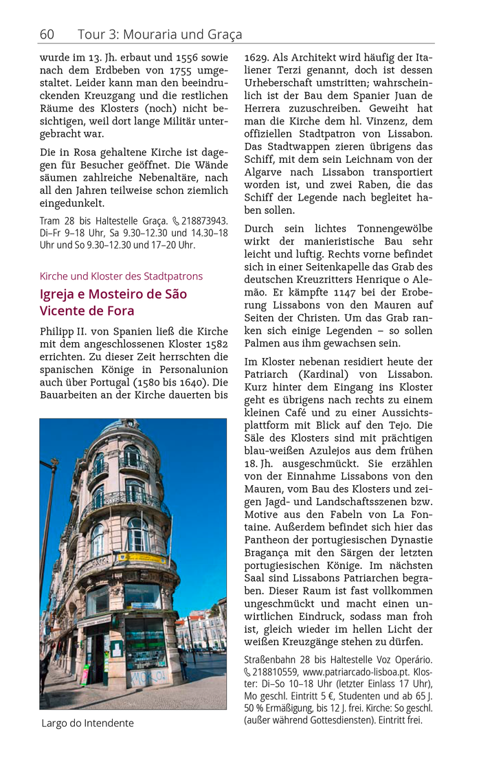 Sample page from an excerpt of the Lissabon city guide