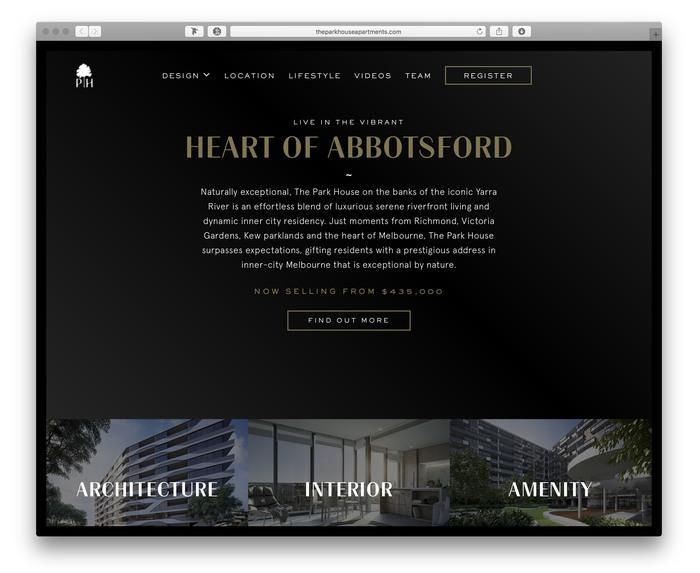 The Park House Apartments promotional website 1