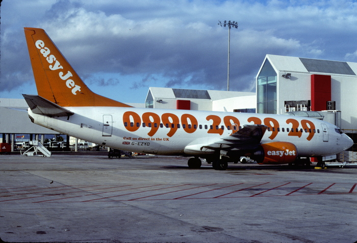 """""""Picture this: a sky full of thunder /  Picture this: my telephone number"""" (Boeing 737-3M8; Jan. 1998, BKU)"""
