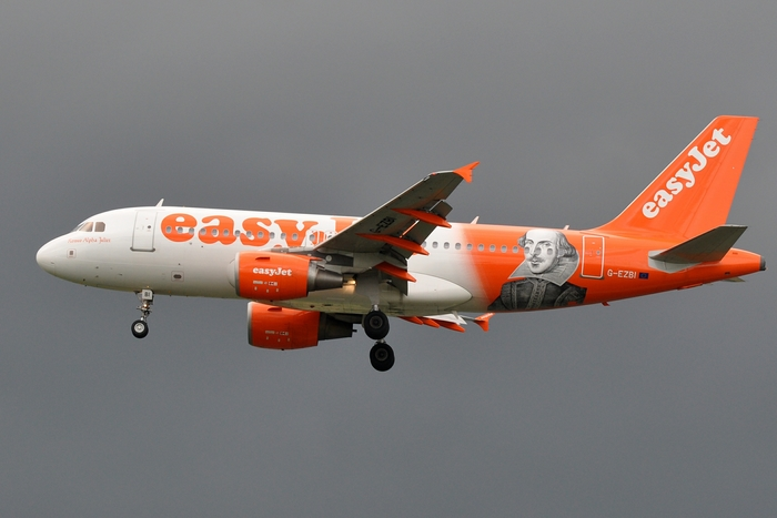 The Romeo Alpha Juliet (A319-111) celebrates the 450th anniversary of William Shakespeare's birth in 2014.
