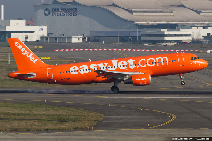 The 200th easyJet Airbus (A320-200) is painted in inverse colors. Spotted in Dec. 2014 at TLS.