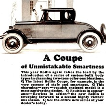 "Rollin ad: ""A Coupe of Unmistakable Smartness"""
