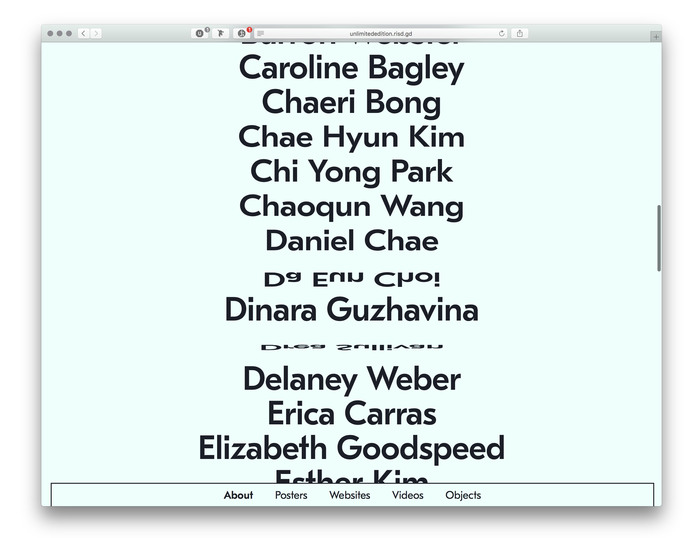 Unlimited Edition, RISD '16 Senior Show website 5
