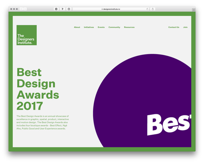 The Designers Institute of New Zealand website (2017) 2