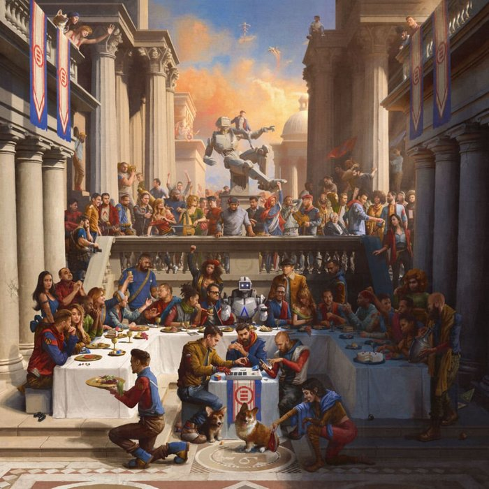 """""""The album's cover art was painted by Sam Spratt and features Logic's family, friends, associates, people involved with the album and more. It was modeled after 'The Wedding at Cana' by Paolo Veronese painting."""" — Genius See it in detail on Sam Spratt's website."""