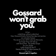 "Gossard ad: ""Gossard won't grab you"""