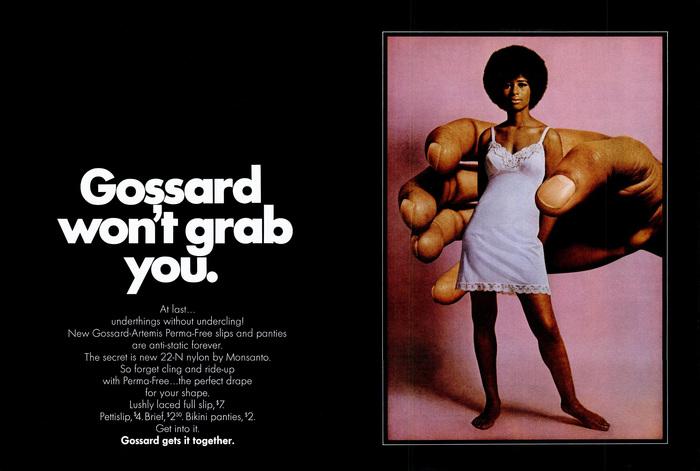 "Gossard ad: ""Gossard won't grab you"""
