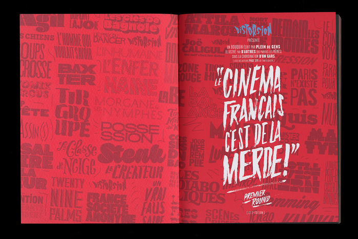 The opening spread previews some movie titles from the book, displaying just a few typefaces from the huge collection contained in the book.