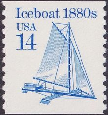 "14 cent ""Iceboat 1880s"" stamp, USA 1986"