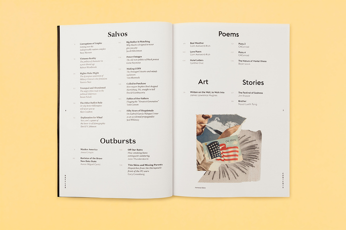 Table of contents. Various typefaces are used to differentiate sections and subject matter.
