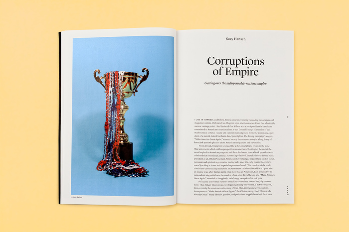 Opening spread of an essay by Suzy Hansen in the Salvos section. Photograph by Lindsay Ballant. Heading in Lyon Display.