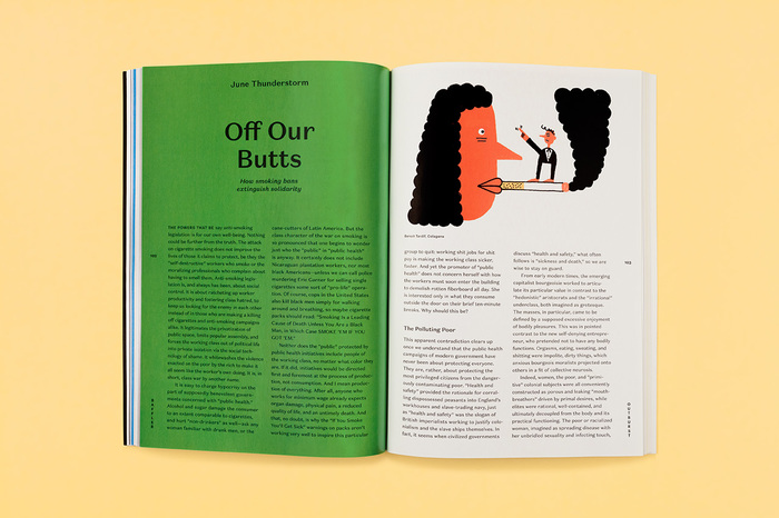 Opening spread of an opinion piece, featuring Domaine Sans