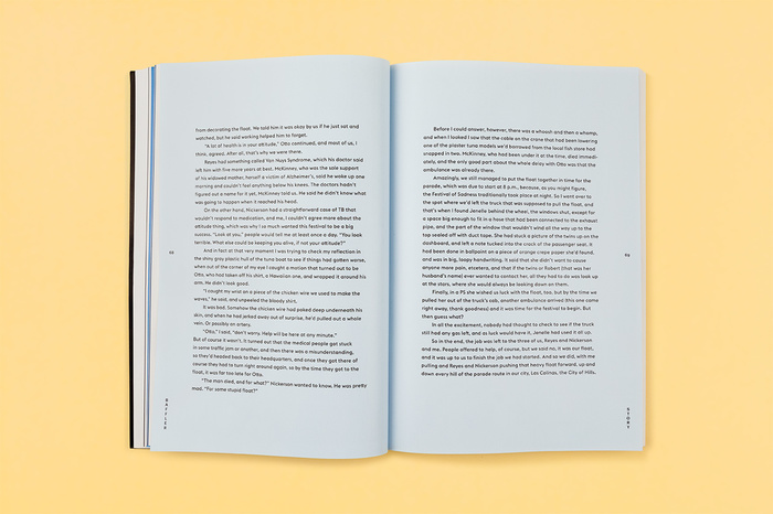 Short stories appear on sky blue pages.