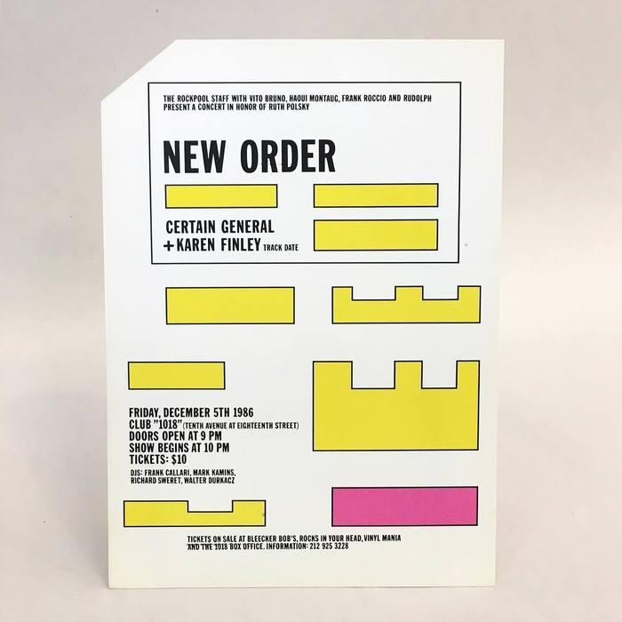New Order, Certain General, and Karen Finley  postcard