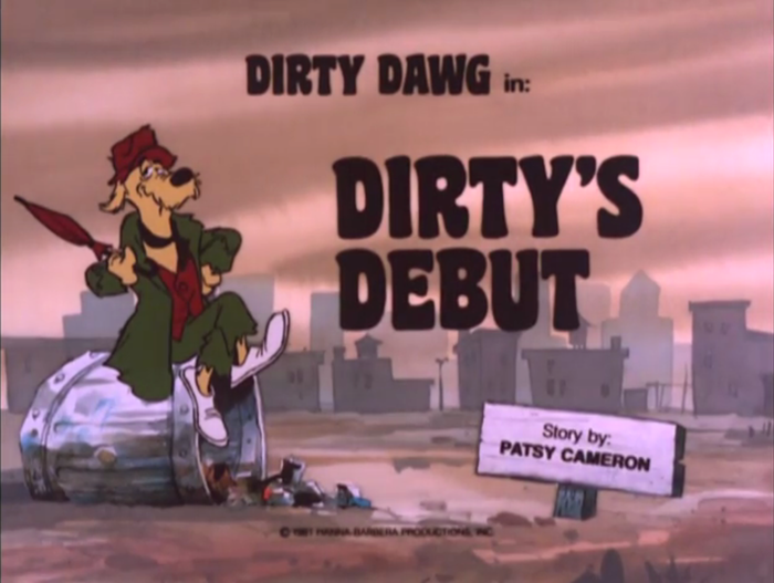 The Dirty Dawg titles feature caps from a film typeface of unclear origin. It is shown as Super Cooper in Photo-Lettering's One Line Manual of Styles, and as Super Dooper in the Solotype catalog. A freebie digitization is named Coaster.