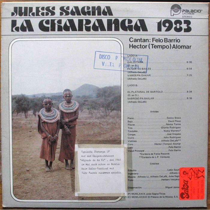 Orchestra Rytmo Africa-Cubana — Jules Sagna presenta: La Charanga 1983 album art 2