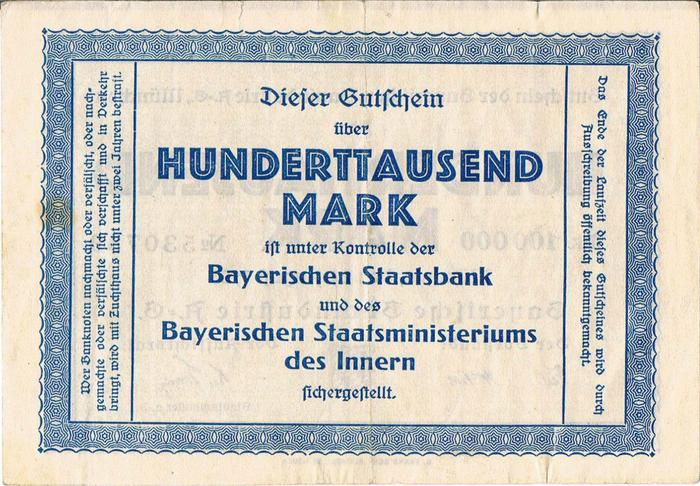 Bayerische Bauindustrie A.-G. Notgeld coupons 2