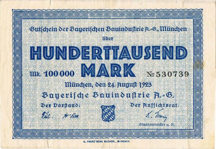 Bayerische Bauindustrie A.-G. Notgeld coupons 1