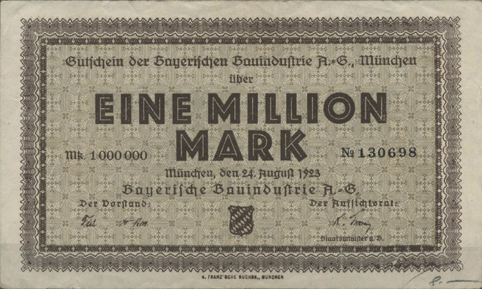 Bayerische Bauindustrie A.-G. Notgeld coupons 3