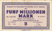 Bayerische Bauindustrie A.-G. Notgeld coupons