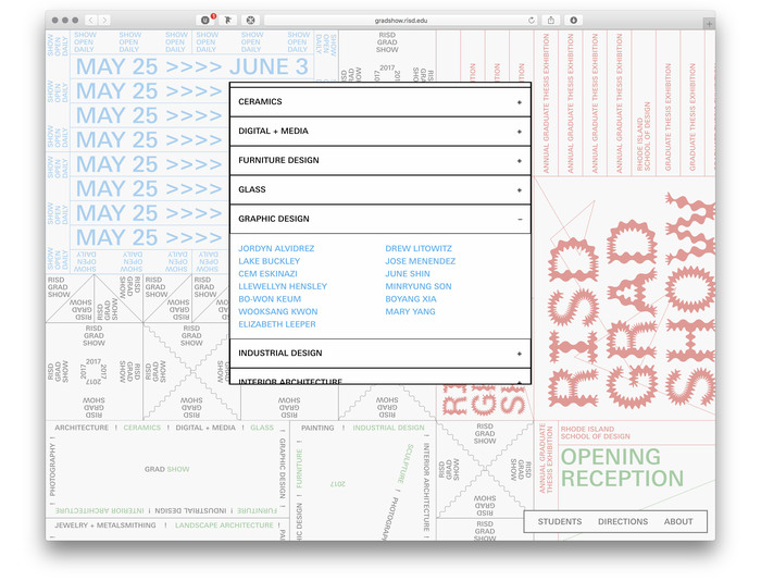 RISD Grad Show 2017 website 3