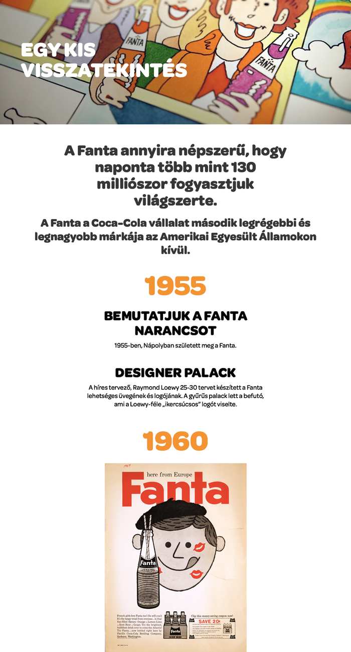 The brand timeline — here in Hungarian — combines various sizes and weights of Omnes in a center-aligned setting. The year dates in big orange numerals establish a clear visual hierarchy, with the perky '1' serving as  eye-catcher.