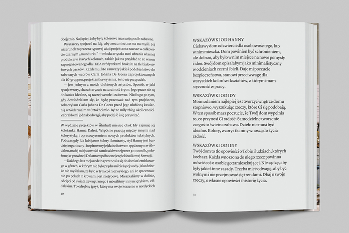 Text spread in the Polish edition. Type set in Lyon Text.