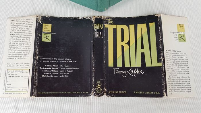 Franz Kafka – The Trial, 1956 Modern Library Definitive Edition cover 2