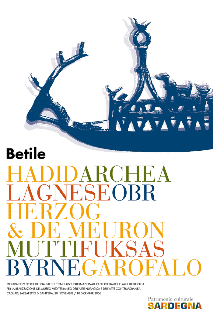 Leaflet for the presentation of the 9 finalists projects of the international architectural design competition for the establishment of the Mediterranean Museum Of Nuragical Art and Contemporary Art Cagliari, 2006. The names of the participants are set in caps from Bauer Bodoni, again echoing the four colors of the logo.     Bodoni here is paired with Futura, which is arguably a better counterpart than Frutiger. The long lines in all caps would have benefitted from some tracking, though.