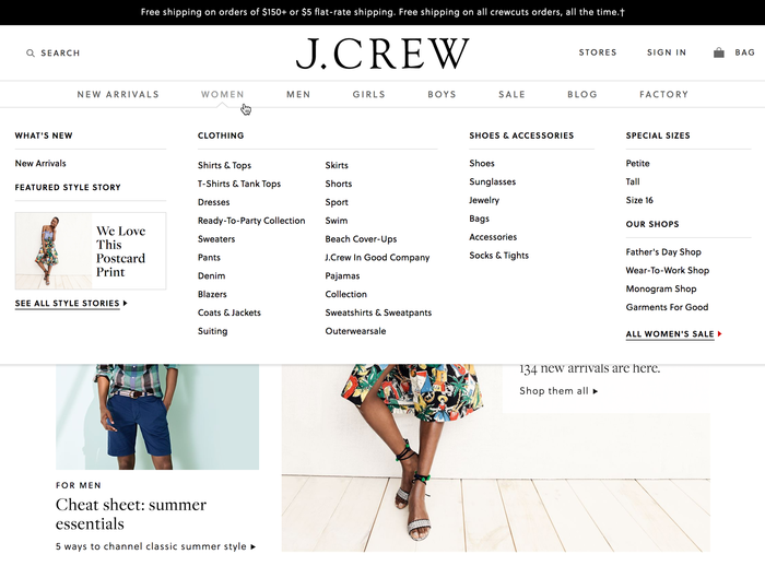 J.Crew website (2017) 2