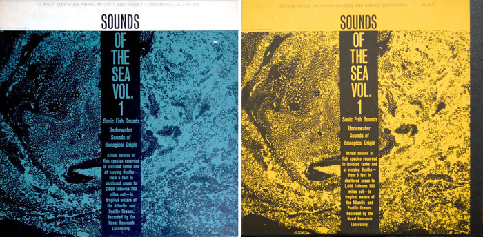 The Discogs archive documents blue (1961), yellow and light green (1966) cover variations.