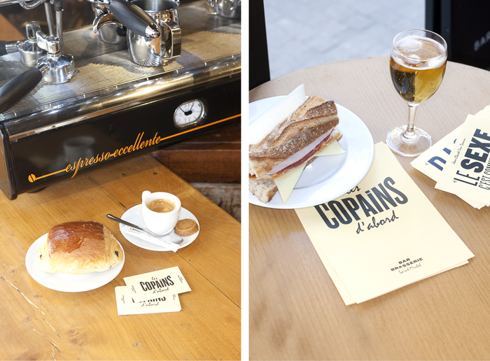 business card, postal cards and drinks menu