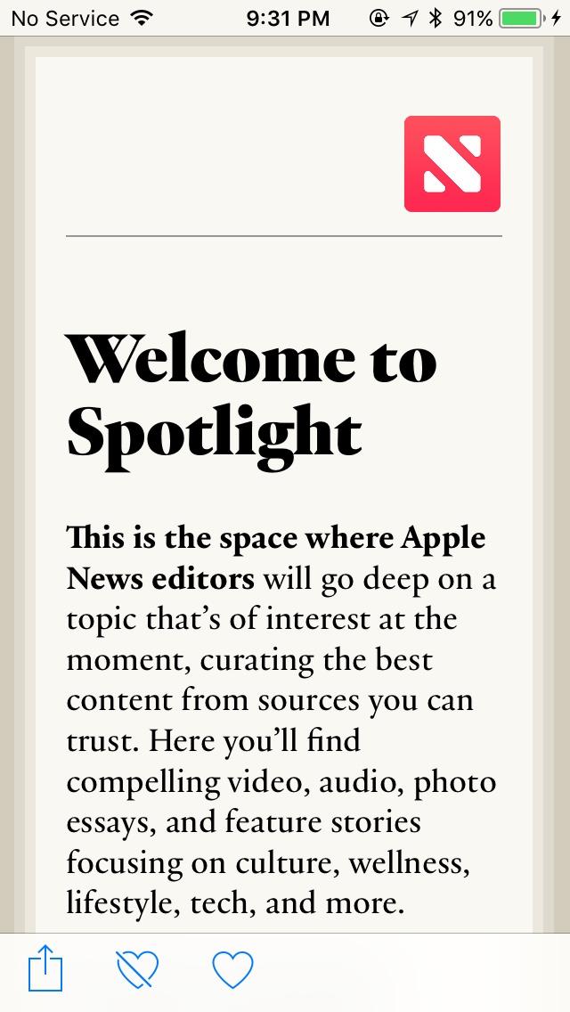 Apple News Spotlight (iOS 11) - Fonts In Use